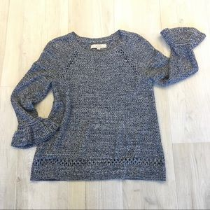 LOFT marled bell 3/4 sleeve sweater